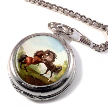 Fighting Stallions by George Stubbs Pocket Watch