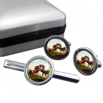 Fighting Stallions by George Stubbs  Cufflink and Tie Clip Set