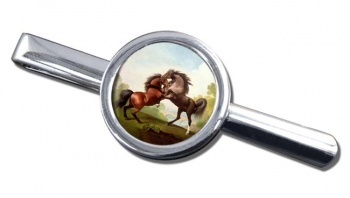 Fighting Stallions by George Stubbs Tie Clip