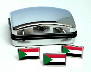 Sudan Flag Cufflink and Tie Pin Set
