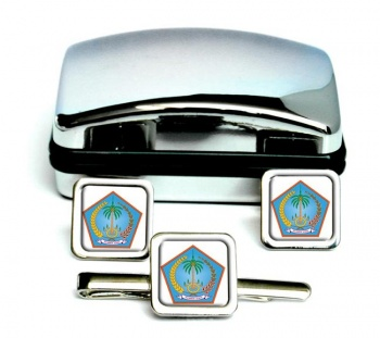 Sulawesi Utara (Indonesia) Square Cufflink and Tie Clip Set