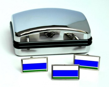 Sverdlovsk Oblast Flag Cufflink and Tie Pin Set