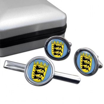 Schwaben (Germany) Round Cufflink and Tie Clip Set