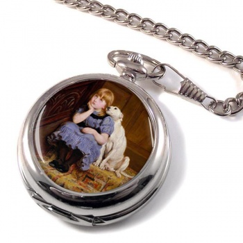 Sympathy (Girl and Dog) by Briton Rivie?re Pocket Watch