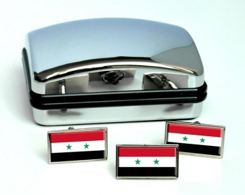Syria Flag Cufflink and Tie Pin Set