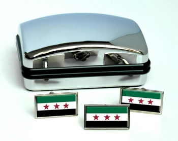 Free Syria Flag Cufflink and Tie Pin Set