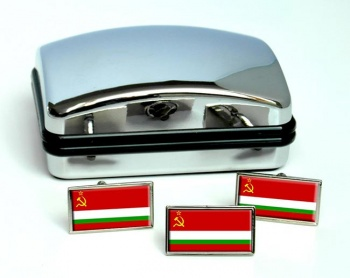 Tajik Soviet Flag Cufflink and Tie Pin Set