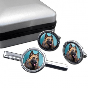 Belgian Shepherd Dog (Tervuren)  Cufflink and Tie Clip Set