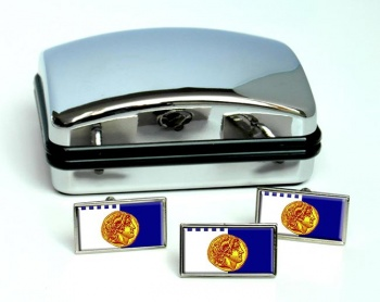 Thessaloniki  (Greece) Flag Cufflink and Tie Pin Set
