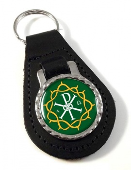 Crown of Thorns Bonded Leather Medallion Keyfob