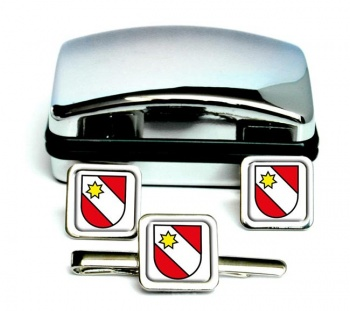 Thun (Switzerland) Square Cufflink and Tie Clip Set