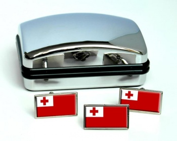 Tonga Flag Cufflink and Tie Pin Set