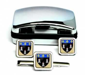Tours (France) Square Cufflink and Tie Clip Set