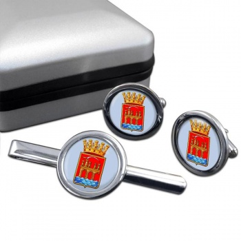 Trapani (Italy) Round Cufflink and Tie Clip Set