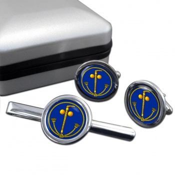 Tubal Cain (Two Ball and Cane) Masonic Round Cufflink and Tie Clip Set