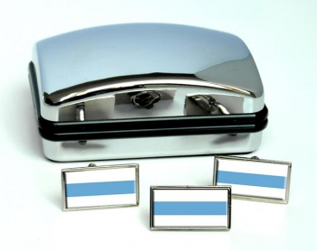 Argentine Tucuman Flag Cufflink and Tie Pin Set