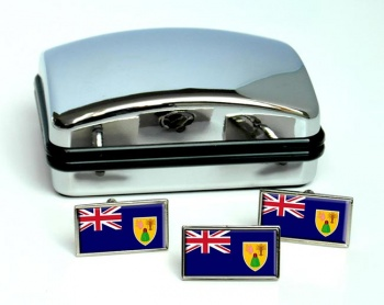 Turks and Caicos Islands Flag Cufflink and Tie Pin Set