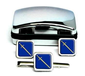 Masonic Lodge Tyler Square Cufflink and Tie Clip Set