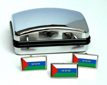Tyumen Oblast Flag Cufflink and Tie Pin Set