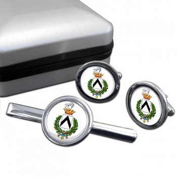 Udine (Italy) Round Cufflink and Tie Clip Set