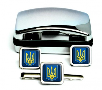Ukraine-Square Cufflink and Tie Clip Set