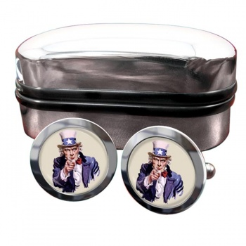 Uncle Sam Round Cufflinks