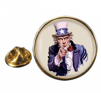 Uncle Sam Round Pin Badge