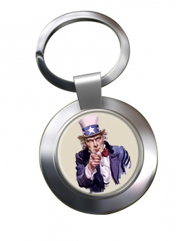 Uncle Sam Chrome Key Ring