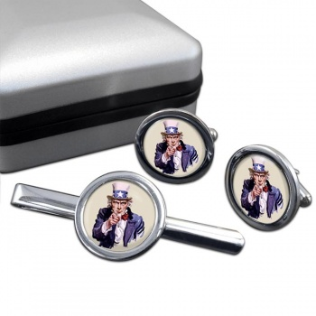 Uncle Sam Round Cufflink and Tie Clip Sert