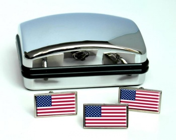 United States Flag Cufflink and Tie Pin Set