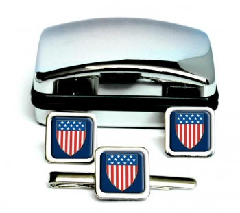 United States Square Cufflink and Tie Clip Set