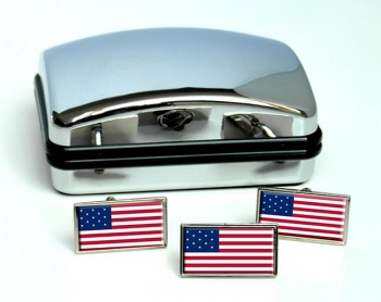 United States Flag 1777-1795 Flag Cufflink and Tie Pin Set