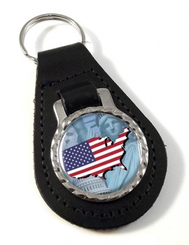 United States Flag and Map Leather Key Fob
