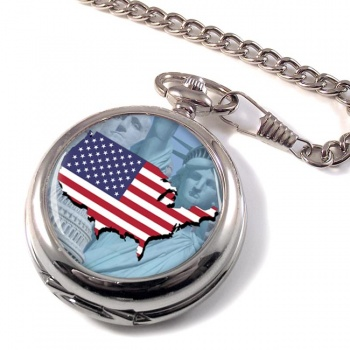 United States Flag and Map Pocket Watch