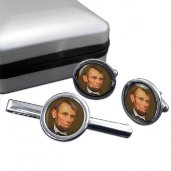 President Abraham Lincoln Round Cufflink and Tie Clip Set