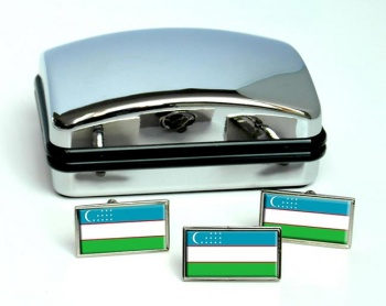 Uzbekistan Flag Cufflink and Tie Pin Set