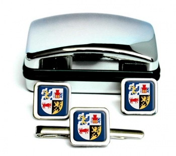 Vastra Gotaland (Sweden) Square Cufflink and Tie Clip Set