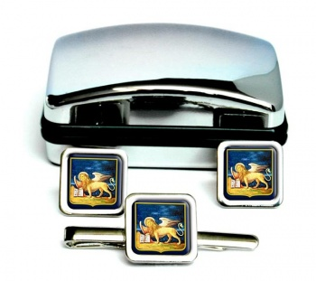 Veneto (Italy) Square Cufflink and Tie Clip Set