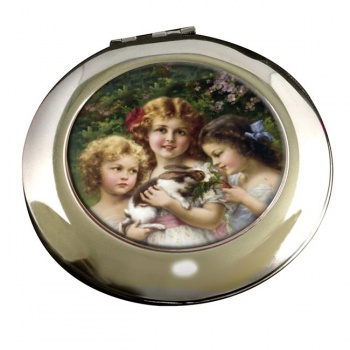 The Pet Rabbit by Emile Vernon Round Mirror