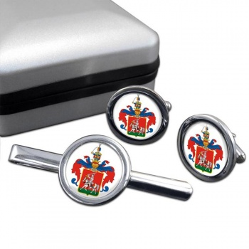 Veszprem Round Cufflink and Tie Clip Set