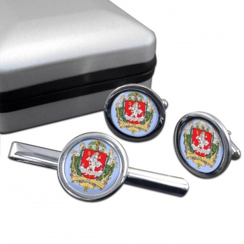 Vilnius (Lithuania) Round Cufflink and Tie Clip Set