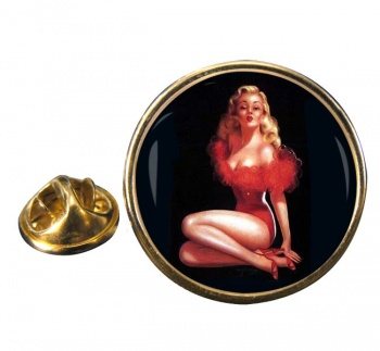 Vintage Pin-up Girl Round Pin Badge