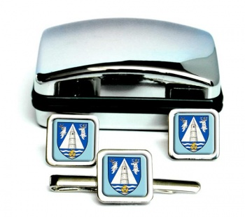 County Waterford (Ireland) Square Cufflink and Tie Clip Set