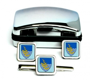 Waterford City (Ireland) Square Cufflink and Tie Clip Set