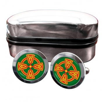 Welsh Celtic Cross Round Cufflinks
