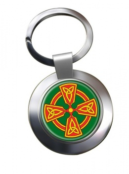 Welsh Celtic Cross Chrome Key Ring