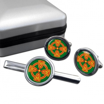 Welsh Celtic Cross Round Cufflink and Tie Clip Set