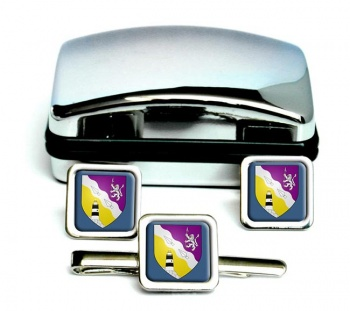 County Wexford (Ireland) Square Cufflink and Tie Clip Set