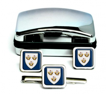 Wexford Town (Ireland) Square Cufflink and Tie Clip Set