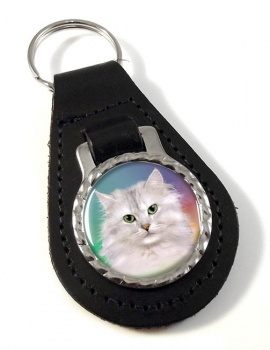 White Cat Leather Key Fob